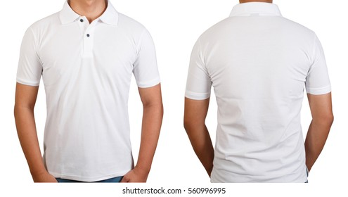 White t-shirt on Asian young man isolated on white, front side and back side with copy space for text design and logo.