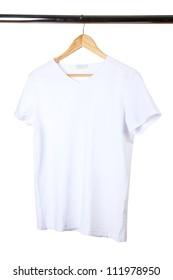 white t-shirt on hanger on white background