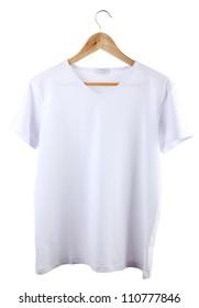 white t-shirt on hanger isolated on white