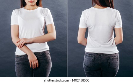 White t-shirt on a young girl isolated, front and back