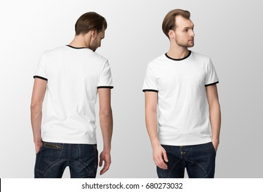 White t-shirt on a young man in jeans, isolated, front and back, mockup..
