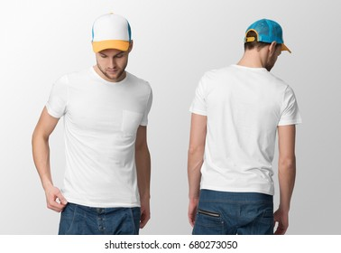 White t-shirt on a young man in jeans and cap, isolated, front and back, mockup.