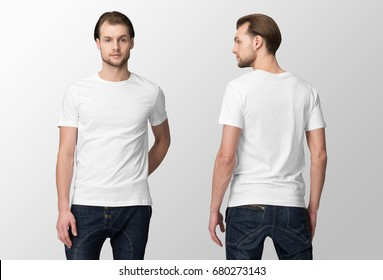 White t-shirt on a young man in jeans, isolated, front and back, mockup.