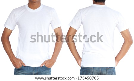 white tshirt on young man template の写真素材 今すぐ編集