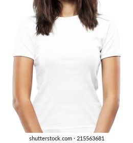 White t-shirt on a young woman template isolated on white background