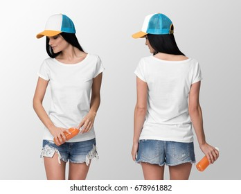 White t-shirt on a young woman in shorts and white cap holding a juice bottle, isolated, front and back, mockup.