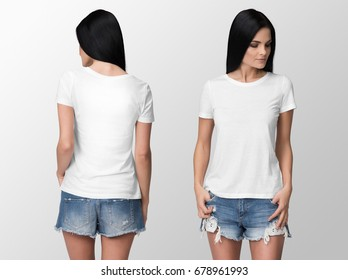 White t-shirt on a young woman in shorts, isolated, front and back, mockup.
