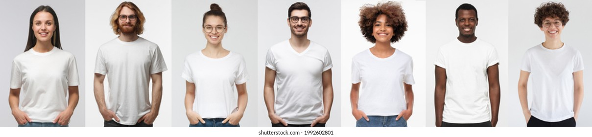 White t-shirt people. Collage of many men and women wearing blank tshirt with copy space for your text or logo