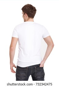 white T-shirt template. Front view. Mock up isolated on white background. Copy space. Man in blank shirt. Male tshirt