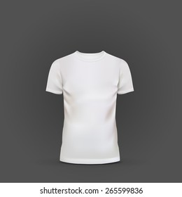 white T-shirt template isolated on black background,
