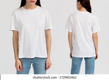 White t-shirt. Template of a women's t-shirt of white color