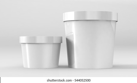 White Tub Food, Plastic Tub, Bucket Container For Dessert, Ice Cream, Yogurt Product Packing