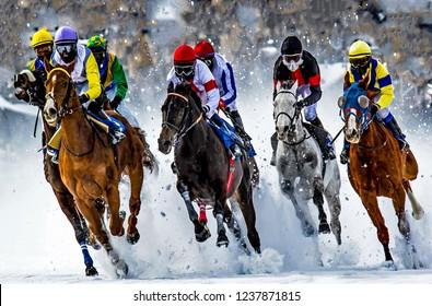 White turf. horse race on ice, St. Moritz, Switzerland
