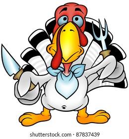 White Turkey - cartoon illustration