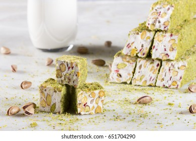 white turkish delight with peanuts