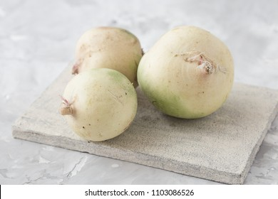 White turnip isolated on the white background.