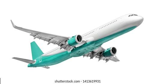 White - turquoise passenger aircraft isolated on white background (design element)