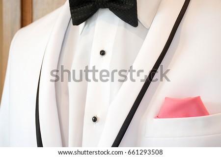 White Tuxedo Black Accent Trim Bow Stock Photo Edit Now 661293508