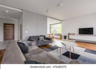 White tv living room with gray sofa, coffee table and carpet
