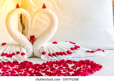 White two towel swans and red rose on the bed in Honey moon suit honeymoon sweet.Swan couple put on bed look like heart shape with rose petals for honeymoon lover