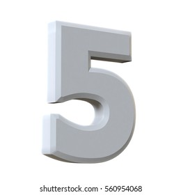White type numbers 5 isolated on white background - 3D render