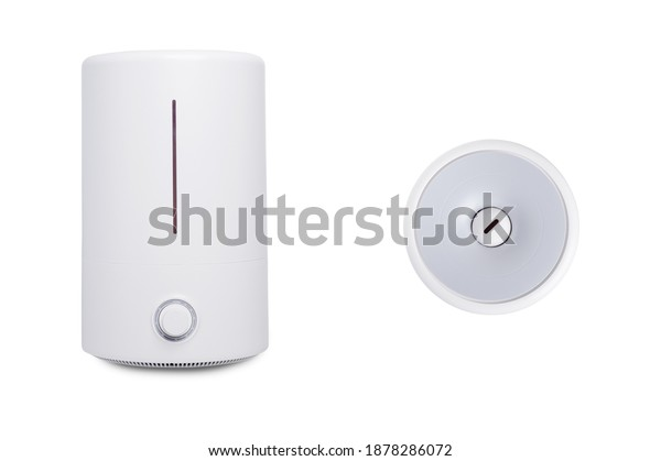 white ultrasonic air humidifier isolated on white background