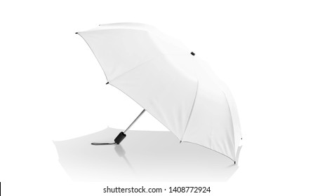 white umbrella isolated on white background with clipping path ready for design mock-up