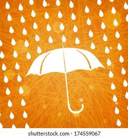 white umbrella and rain drops on abstract modern triangular orange background