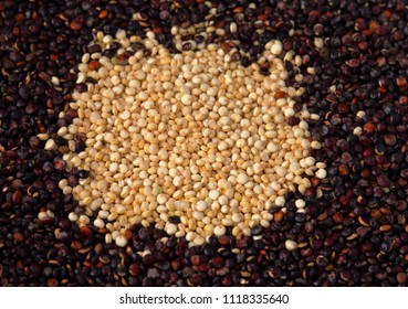 White uncooked organic quinoa surrounded by black quinoa. Macro.