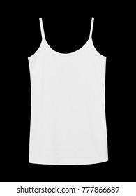 White underwear sleeveless empty summer t shirt camisole isolated on black