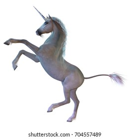 White Unicorn 3d illustration - A Unicorn is a white magical horse with cloven hoofs, a forehead horn and a beard and is a creature of mythology.