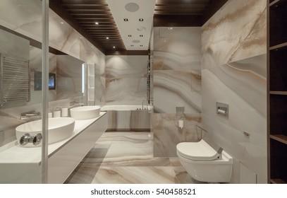 White urinal and washbasin and shower in granite bathroom, Modern house bathroom interior, luxury bathroom
