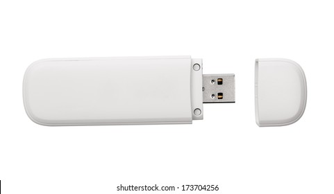 White usb flash drive isolated on the white background