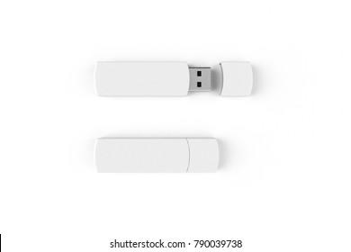 White USB flash drive mockup isolated on white background 3d illustration