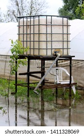 White used intermediate bulk container or IBC plastic tank with metal cage used for water storage put on elevated wooden frame in flooded local garden surrounded with small plants and plastic greenhou