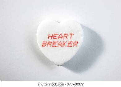 White Valentine's Day candy heart with Heart Breaker text word
