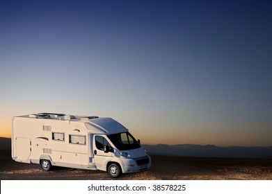 white van in desert