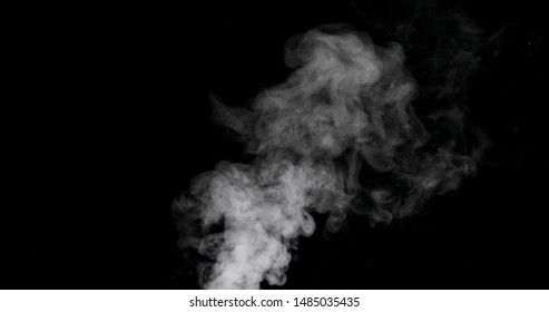 White vapour spray steam cloud isolated on black background