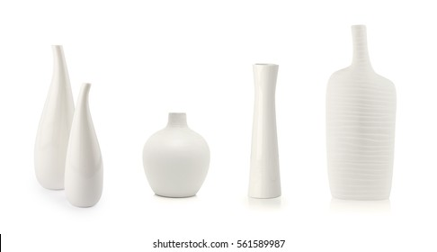 White vases isolated on white