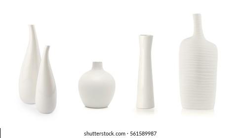 White vases isolated on white