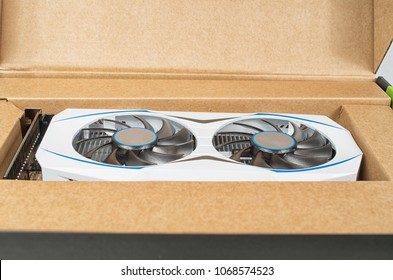 White video card in its packing box
