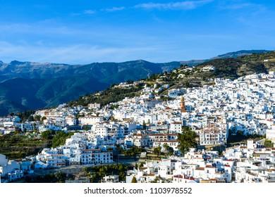 White village of Competa, Axarquia Costa del Sol, Malaga, Andalusia, Spain, Iberian Peninsula