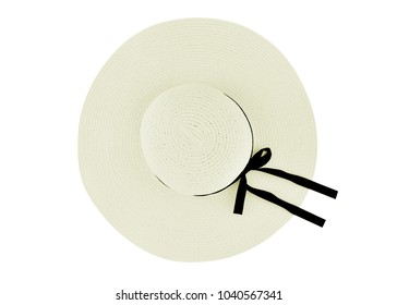 White vintage fabricate hat and black ribbon on white background. Top view.