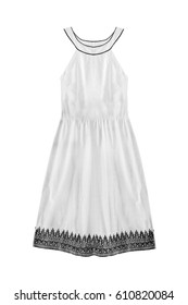 170460f85b1 White vintage halter cotton dress isolated over white