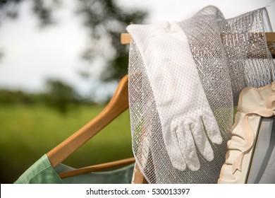 White vintage wedding glove