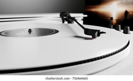 White vinyl records 3d render
