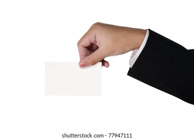 White visit card in hand isolated in studio