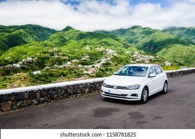 White Volkswagen Polo rental car in La Palma, Canary Islands, Spain. July 2018