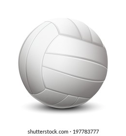 White volleyball ball with leather texture isolated on white background. Raster copy