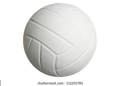 White volleyball isolated on white with clipping path